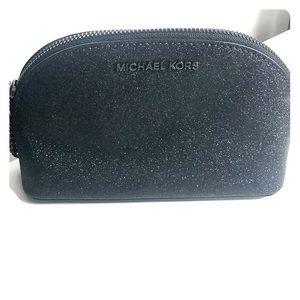 Michael Kors black glitter makeup bag